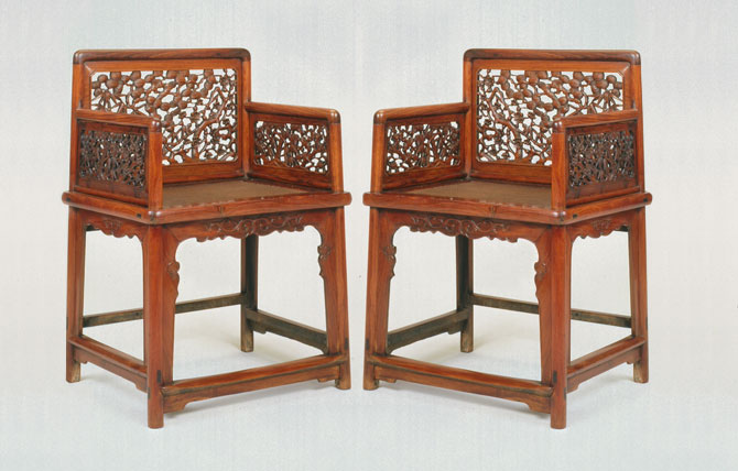 Late Ming Or Early Qing Dynasty Pair Of Lowback Armchairs With Carved Three  Friends Of Winter Openwork Panels